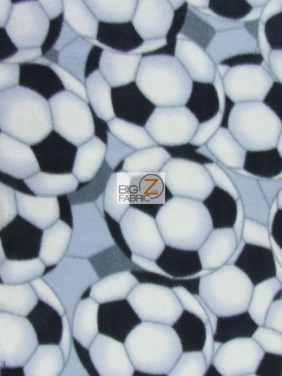 Soccer Football Fleece Fabric By The Roll