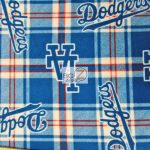 MLB Polar Fleece Fabric Los Angeles Dodgers Plaid
