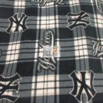 MLB Polar Fleece Fabric New York Yankees Plaid