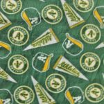 MLB Polar Fleece Fabric Oakland Athletics