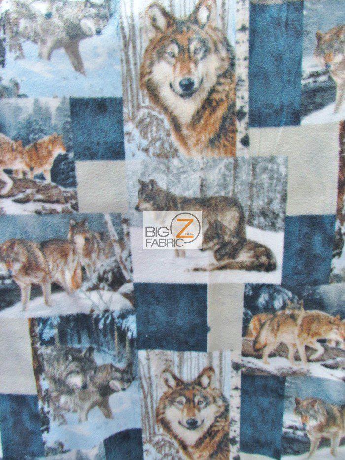 Wolves Patchwork Fleece Fabric