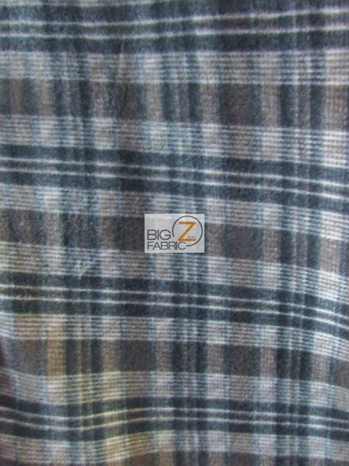 Tartan Plaid Polar Fleece Fabric Dark Brown
