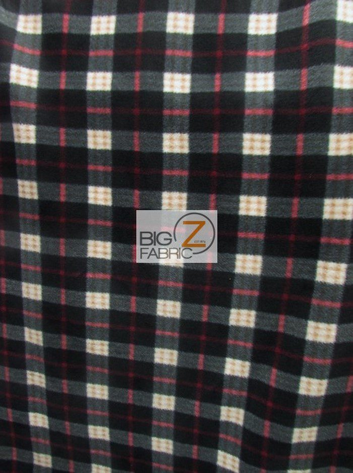 Black Red White Tartan Plaid Polar Fleece Fabric