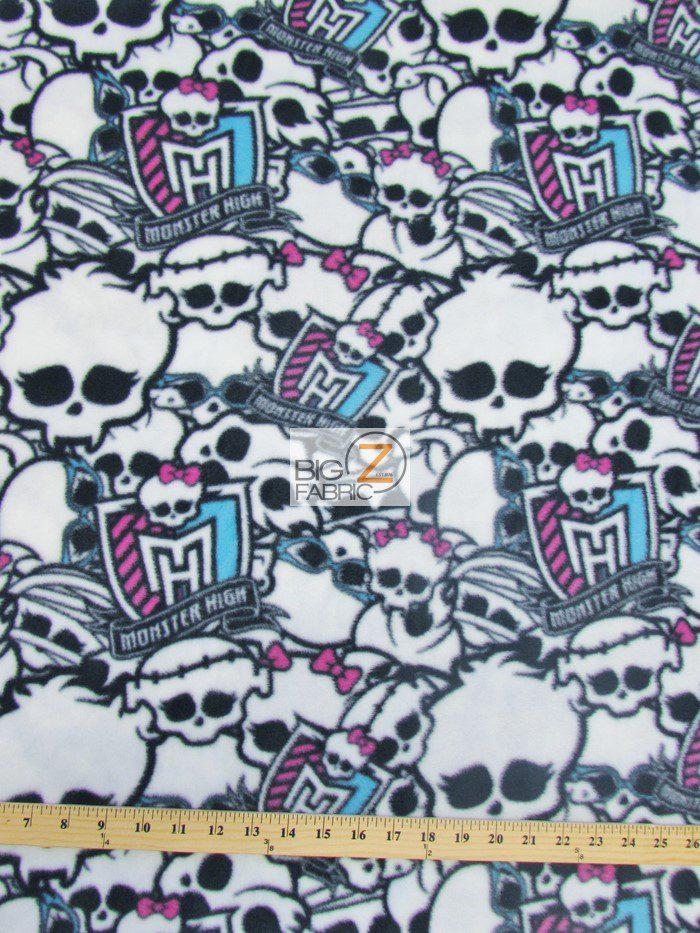 Halloween Monster High Skulls & Emblem Fleece Fabric