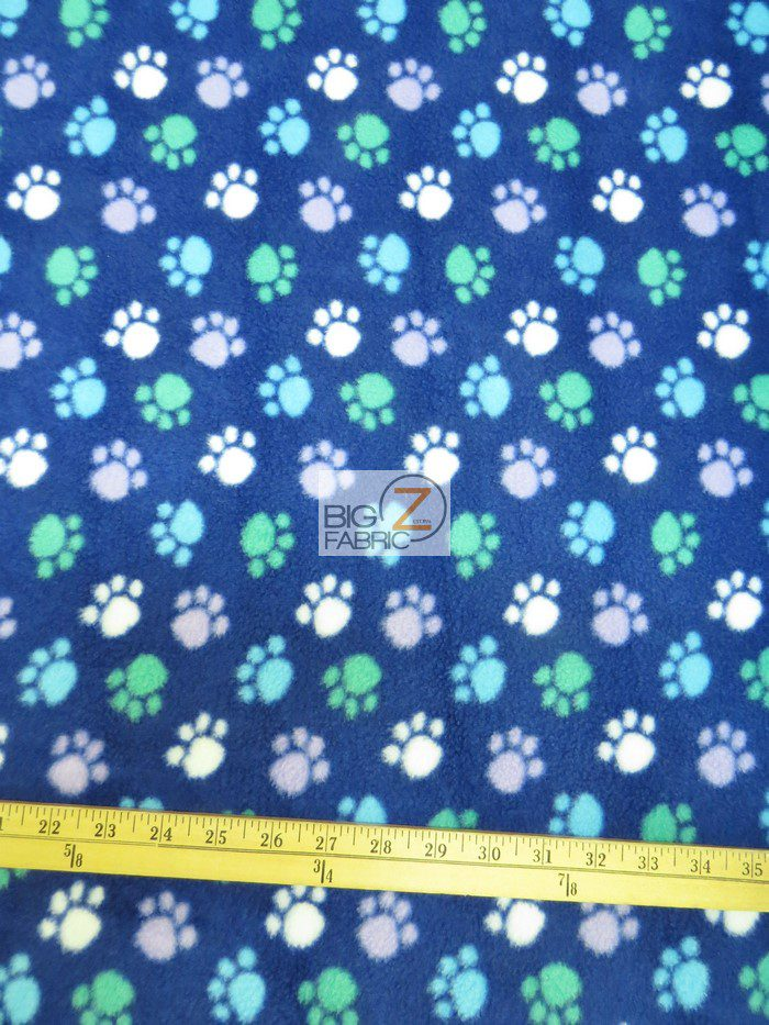Paw Print Polar Fleece Fabric Multi Color Blue