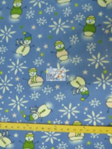 Christmas Snowman Polar Fleece Fabric Blue