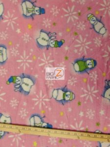 Christmas Snowman Polar Fleece Fabric Pink