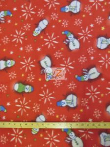 Christmas Snowman Polar Fleece Fabric Red