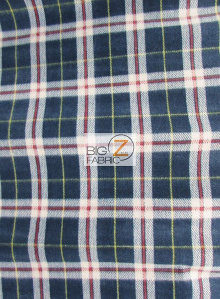 Navy/Red/White Tartan Plaid Polar Fleece Fabric