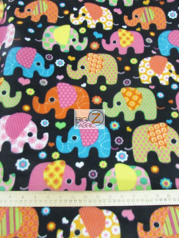 Disco Elephants Fleece Fabric By Baum Textile Mills