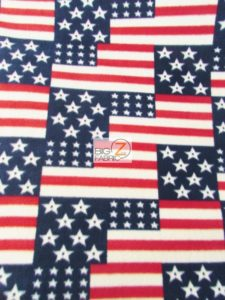 4th Of July American Flags Polar Fleece Fabric