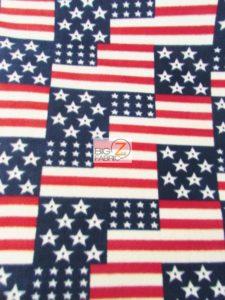 4th Of July American Flags Polar Fleece Fabric