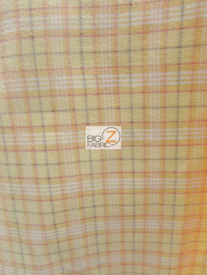 Beige Tartan Plaid Polar Fleece Fabric