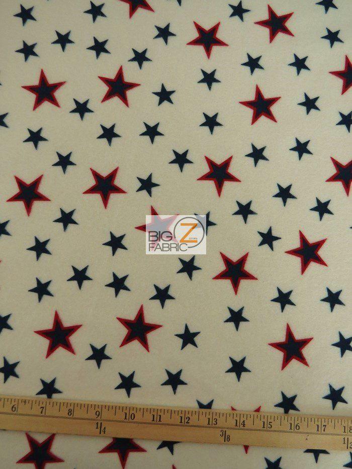 American Stamped Stars Polar Fleece Fabric