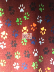 Wholesale Paw Polar Fleece Fabric Burgundy