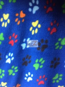 Wholesale Paw Polar Fleece Fabric Royal