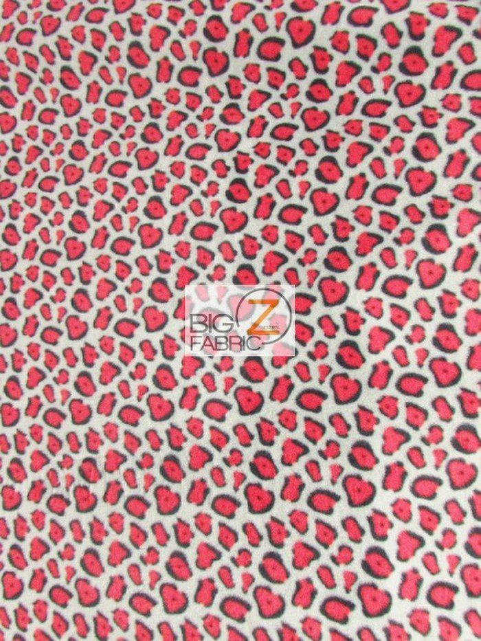 Gray/Red Leopard Polar Fleece Fabric