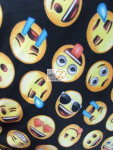 Emoji Polar Fleece Fabric Black