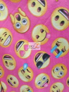 Emoji Polar Fleece Fabric Pink