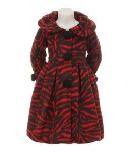 Little Girls Zebra Print Fleece Coat