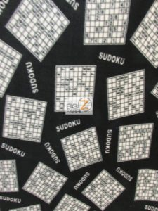 Sudoku Games Black Baum Textile Mills Polar Fleece Fabric