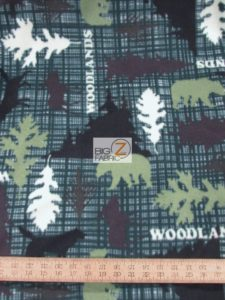 Woodlands Green Baum Textile Mills Polar Fleece Fabric