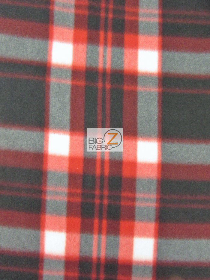 Red/Black Tartan Plaid Polar Fleece Fabric