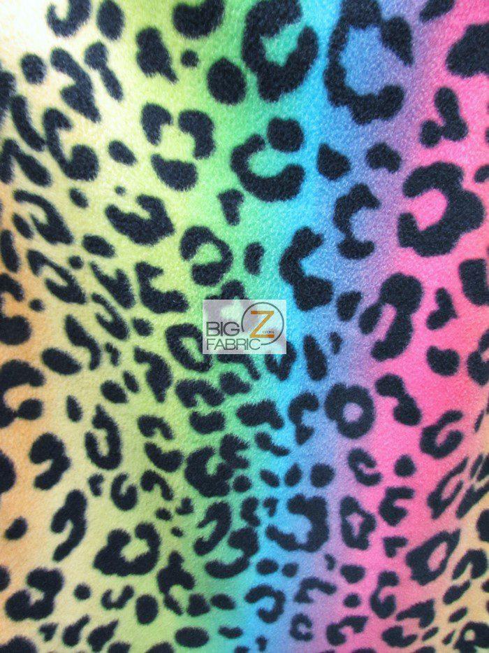 Rainbow Leopard Polar Fleece Fabric