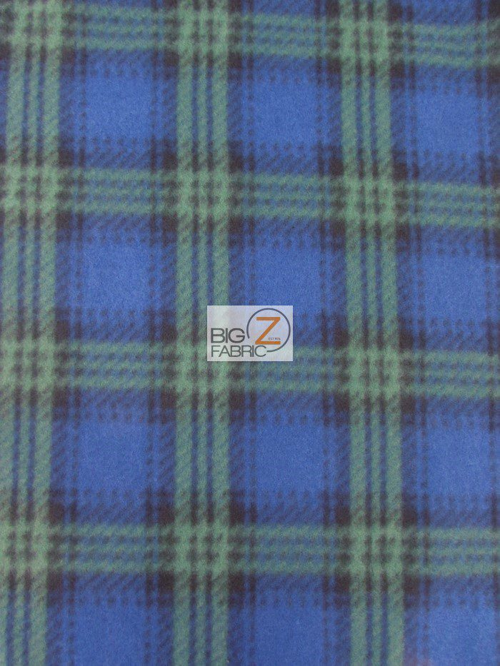 Green Scot Checkered Tartan Plaid Polar Fleece Fabric